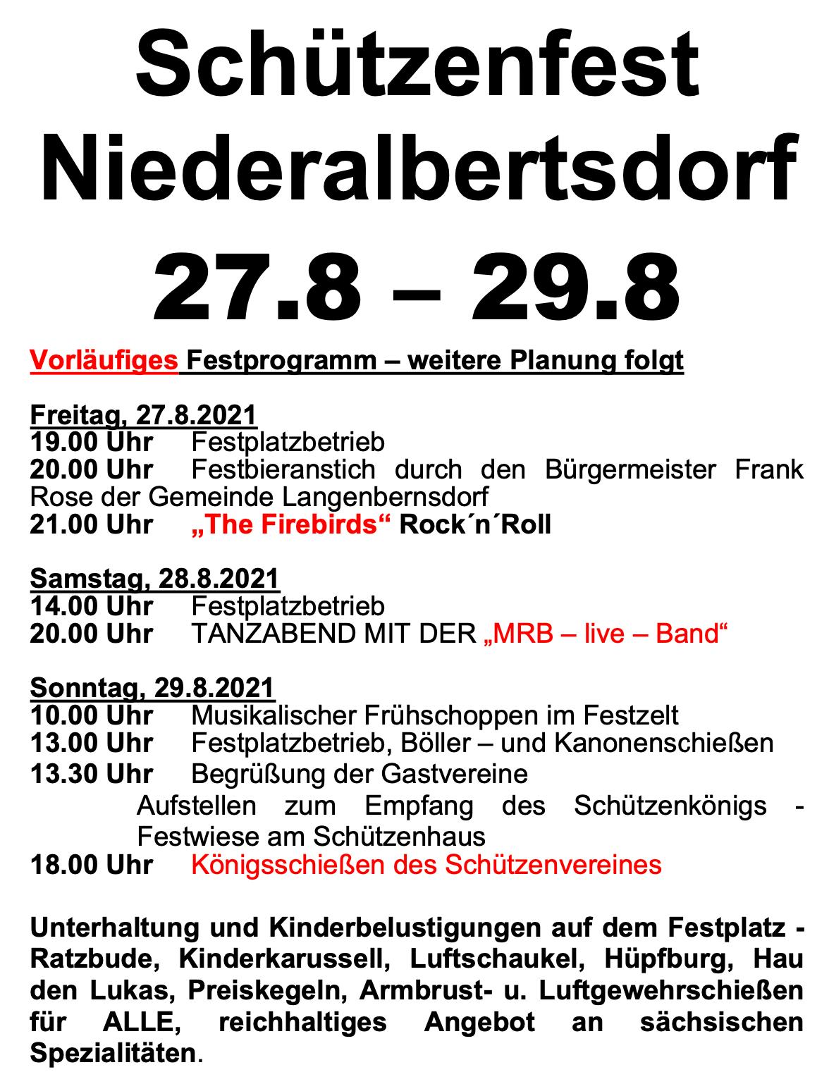 Programm Schützenfest 2021